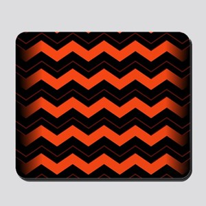 Orange and Black Chevron Mousepad